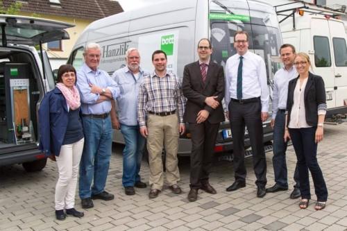 Von links nach rechts: Martina Deißenroth, Dieter Nink, Bernd Kremer, Manuel Barfuss, Bürgermeisterkandidat Michael Stanke, CDU - Stadtverbandsvors. Christian Wendel  sowie Thomas und Michaela Hanzlik